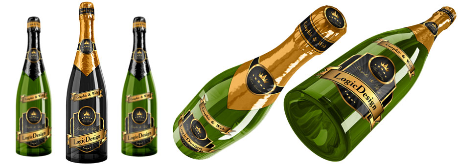 bottle champagne mock up designs details