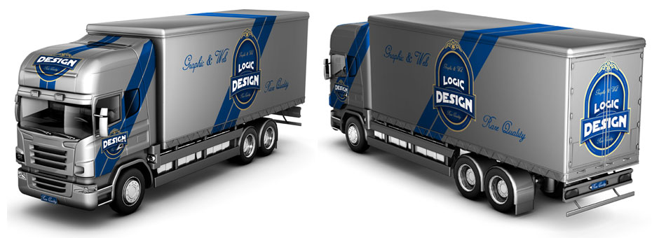 truck mock up front back design