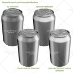 beverage cans mock up reflections