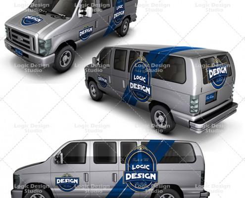minibus car mock up design views