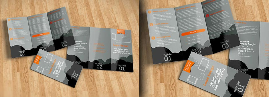 tri-fold brochure mock-up details