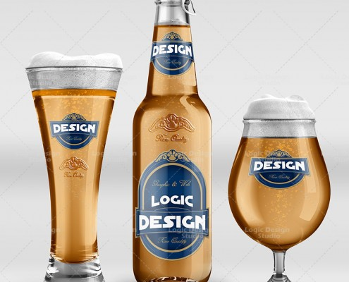 Beer and Glasses Mock-Up Pack front