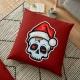 Funny Christmas Skull, Cartoon Skull - pillow
