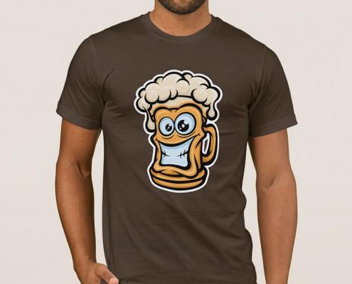 Happy Beer Mug, Cartoon Style - t-shirt