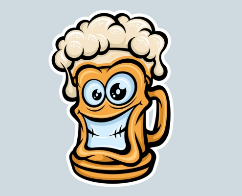 Happy Beer Mug, Cartoon Style